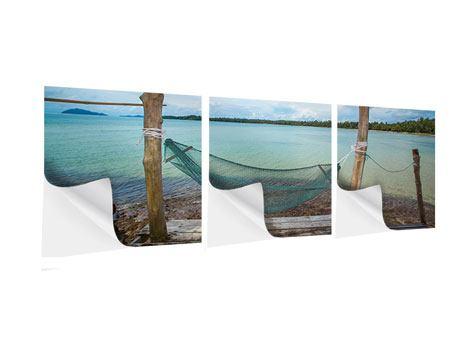 Panorama Klebeposter 3-teilig Hängematte