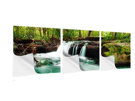 Panorama Klebeposter 3-teilig Der Fluss am Wasserfall