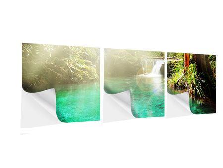 Panorama Klebeposter 3-teilig Die grüne Lagune