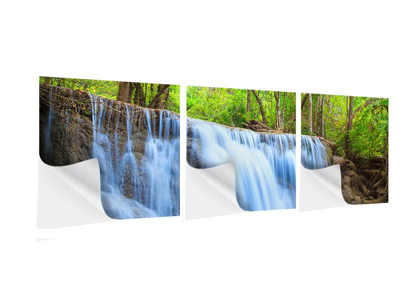 Panorama Klebeposter 3-teilig Wasserfall Si Nakharin