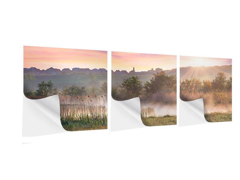 Panorama Klebeposter 3-teilig Sonnenuntergang am Hügel