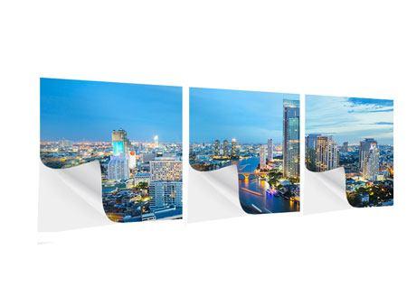 Panorama Klebeposter 3-teilig Skyline Bangkok in der Abenddämmerung