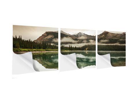 Panorama Klebeposter 3-teilig Spiegelung im Glacier Nationalpark