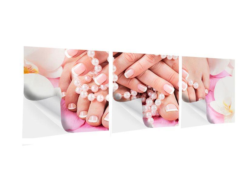 Panorama Klebeposter 3-teilig Hände und Füsse