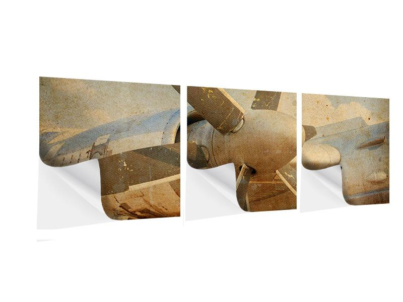 Panorama Klebeposter 3-teilig Propellerflugzeug im Grungestil