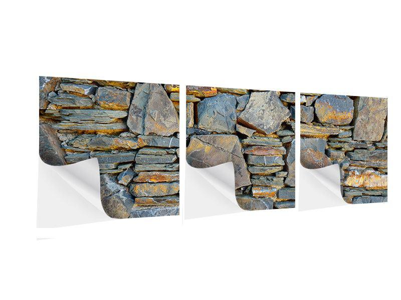 Panorama Klebeposter 3-teilig Natürliche Steinmauer