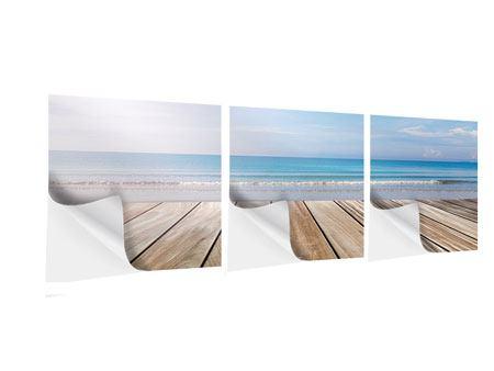 Panorama Klebeposter 3-teilig Das schöne Strandhaus