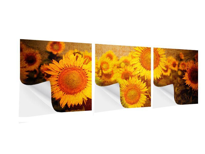 Panorama Klebeposter 3-teilig Retro-Sonnenblumen