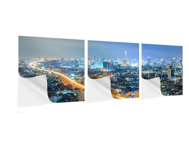 Panorama Klebeposter 3-teilig Skyline Bangkok im Fieber der Nacht