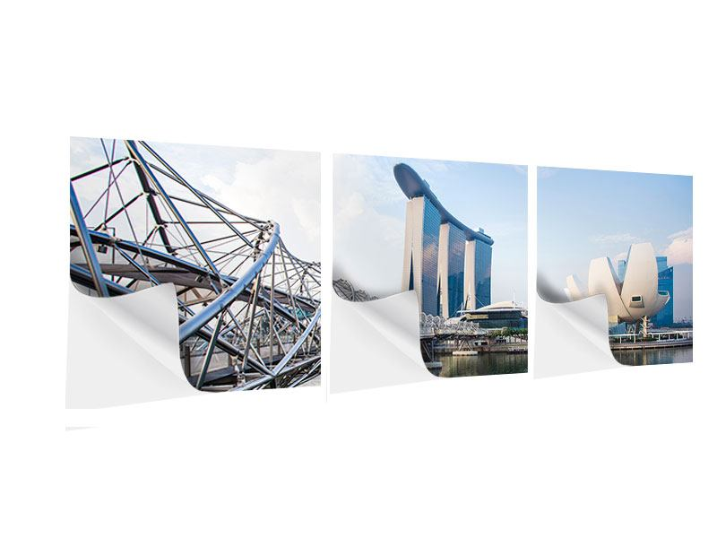 Panorama Klebeposter 3-teilig Singapur