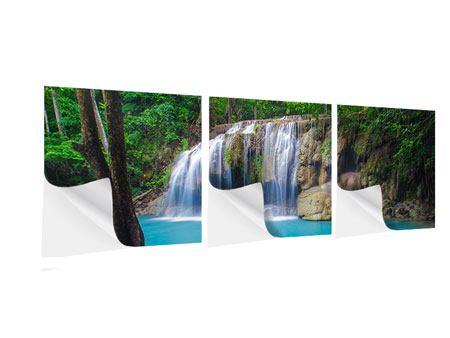 Panorama Klebeposter 3-teilig Naturerlebnis Wasserfall