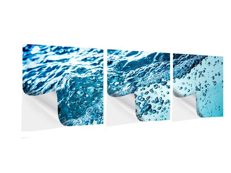 Panorama Klebeposter 3-teilig Wasser in Bewegung