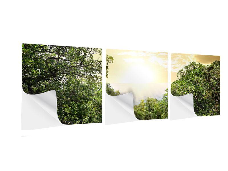 Panorama Klebeposter 3-teilig Am Ende des Waldes