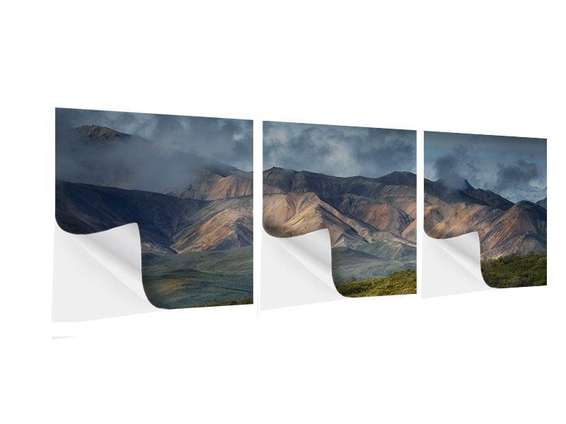 Panorama Klebeposter 3-teilig Silberstreifen