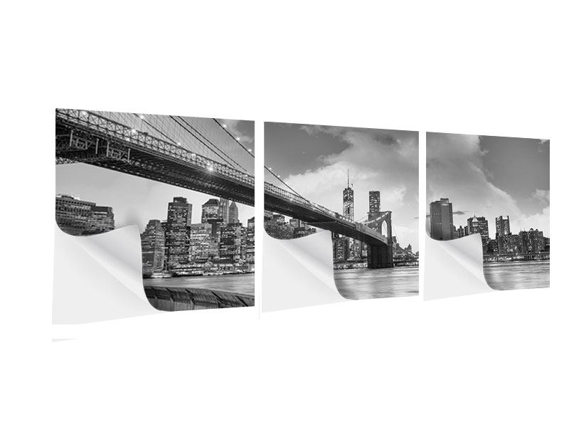 Panorama Klebeposter 3-teilig Skyline Schwarzweissfotografie Brooklyn Bridge NY