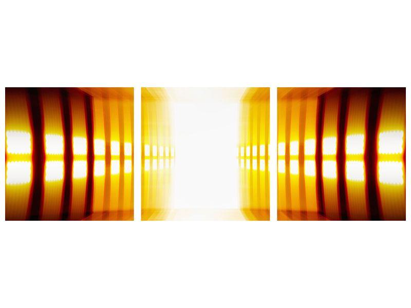 Panorama Klebeposter 3-teilig Abstrakter Goldener Raum