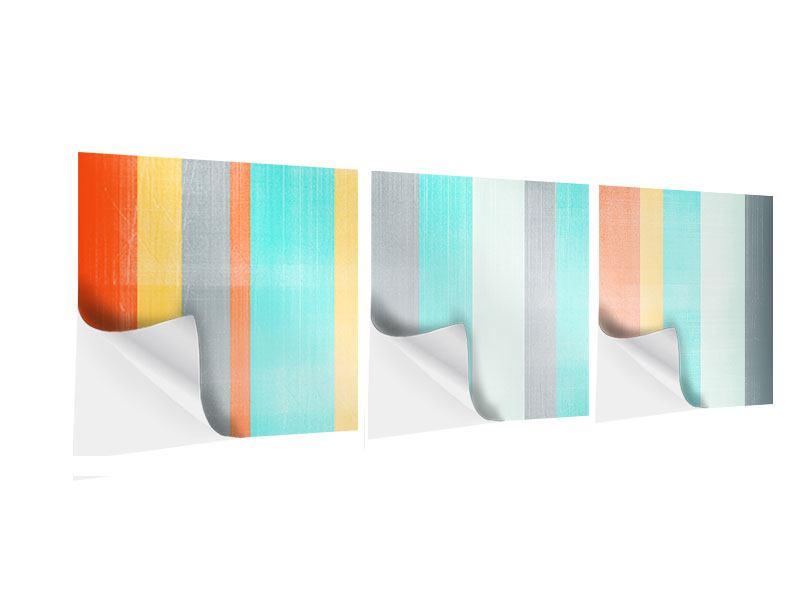Panorama Klebeposter 3-teilig Grunge Streifen
