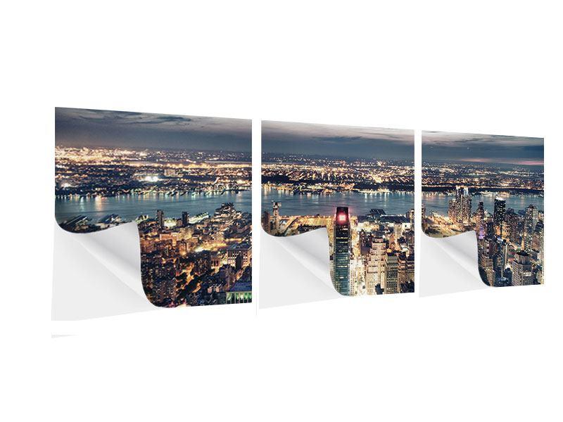 Panorama Klebeposter 3-teilig Skyline Manhattan Citylights