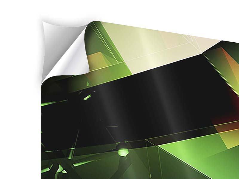 Panorama Klebeposter 3-teilig 3D-Polygon