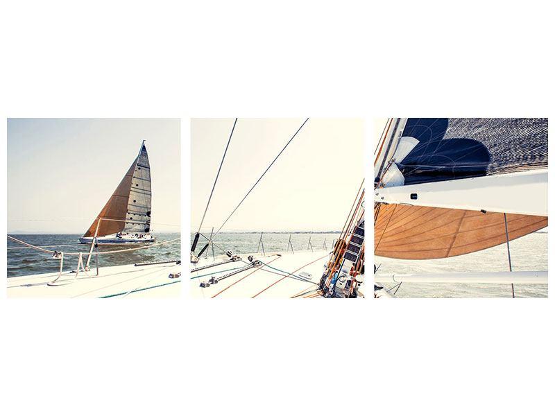 Panorama Klebeposter 3-teilig Segelyacht