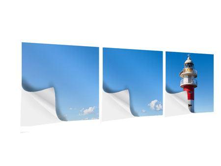 Panorama Klebeposter 3-teilig Leuchtturm in Punta Teno