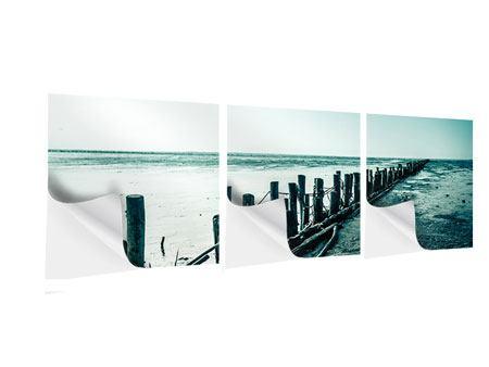 Panorama Klebeposter 3-teilig Das Wattenmeer