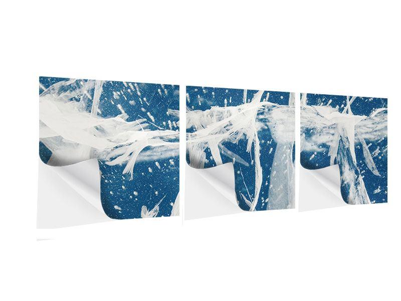 Panorama Klebeposter 3-teilig Eiskristalle