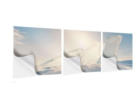 Panorama Klebeposter 3-teilig Eislandschaft