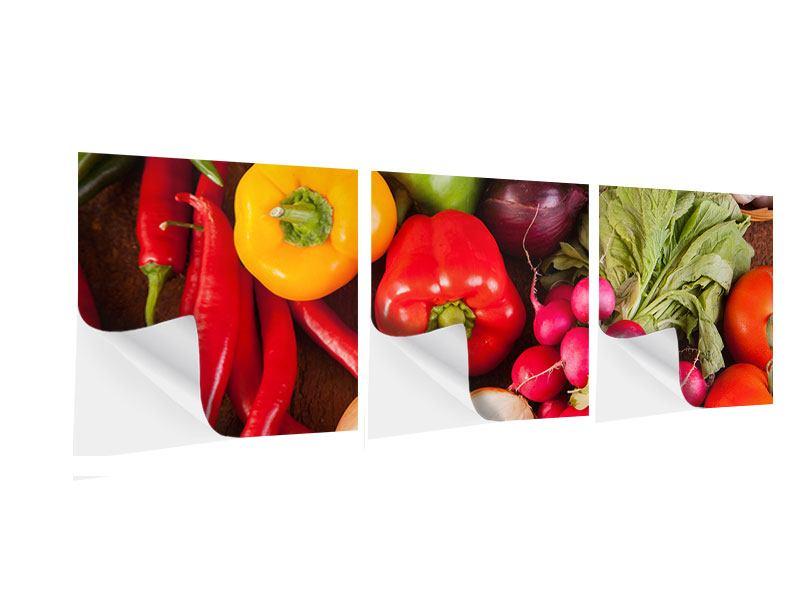 Panorama Klebeposter 3-teilig Gemüsefrische