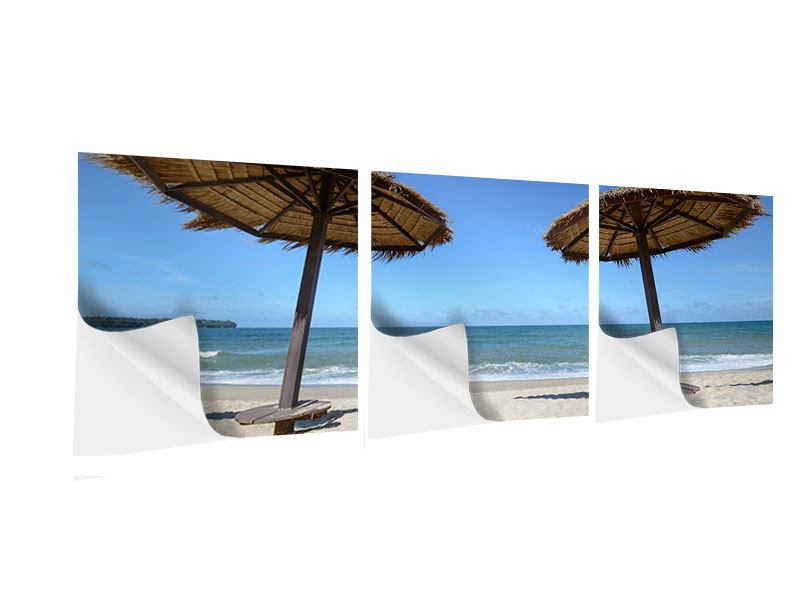 Panorama Klebeposter 3-teilig Umbrellas