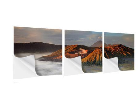 Panorama Klebeposter 3-teilig Der Bromo Vulkan