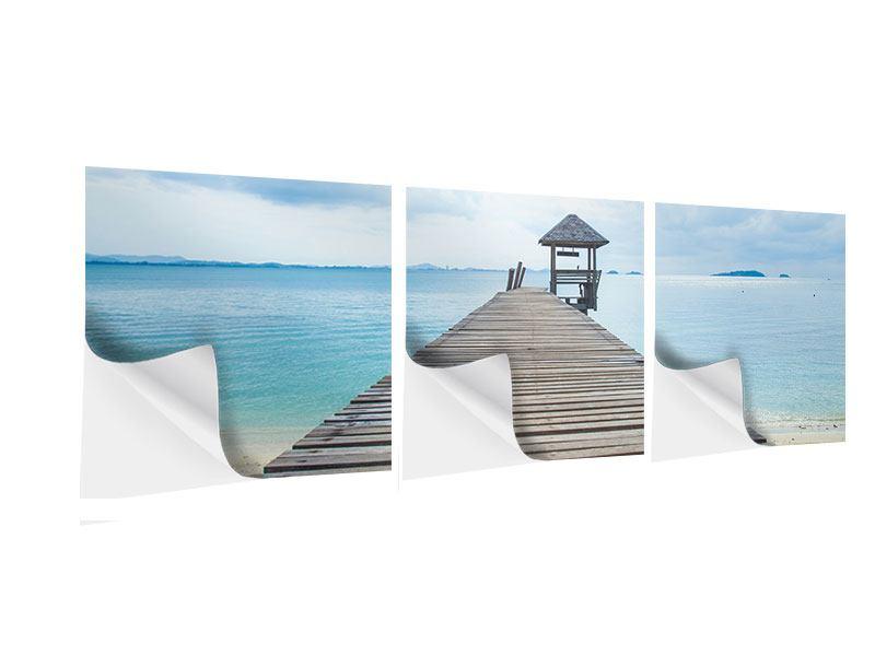 Panorama Klebeposter 3-teilig Ozean-Steg