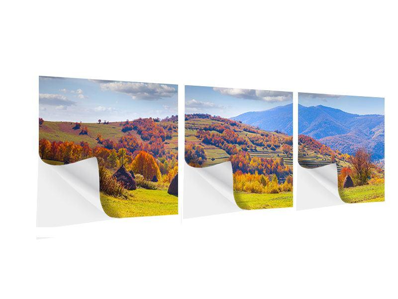 Panorama Klebeposter 3-teilig Herbstliche Berglandschaft