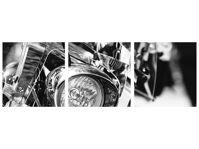 Panorama Klebeposter 3-teilig Motorrad Close Up