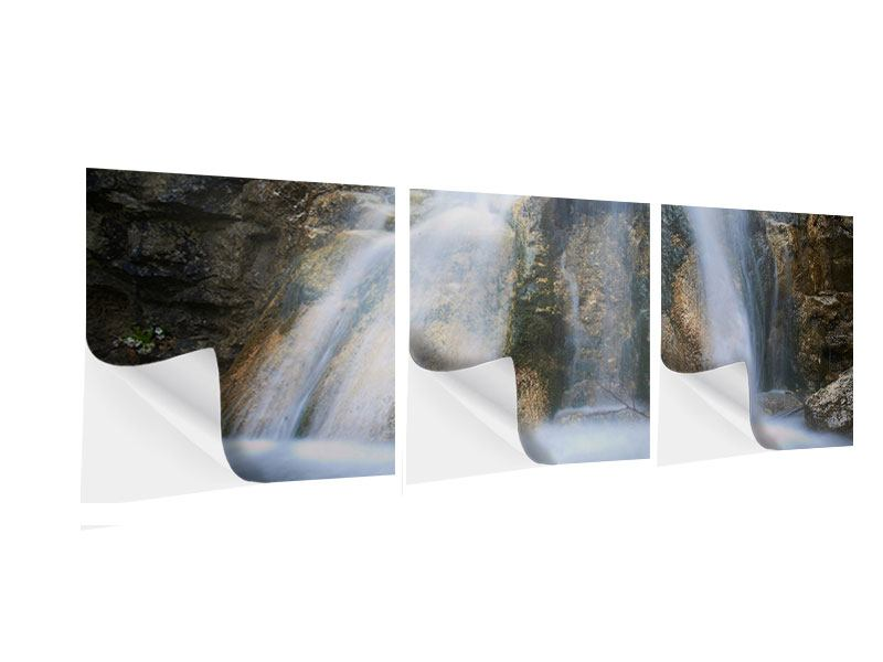 Panorama Klebeposter 3-teilig Imposanter Wasserfall