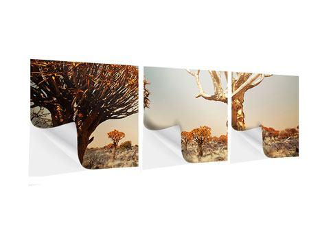 Panorama Klebeposter 3-teilig Afrikanische Landschaft