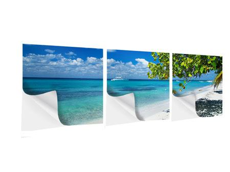 Panorama Klebeposter 3-teilig Happy Beach