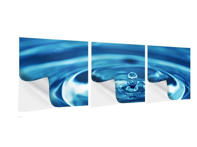 Panorama Klebeposter 3-teilig Der Wassertropfen