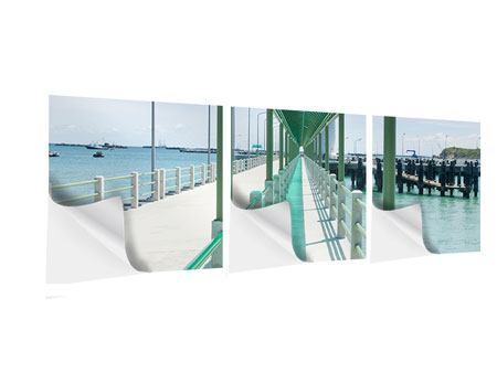 Panorama Klebeposter 3-teilig Die Brücke am Meer