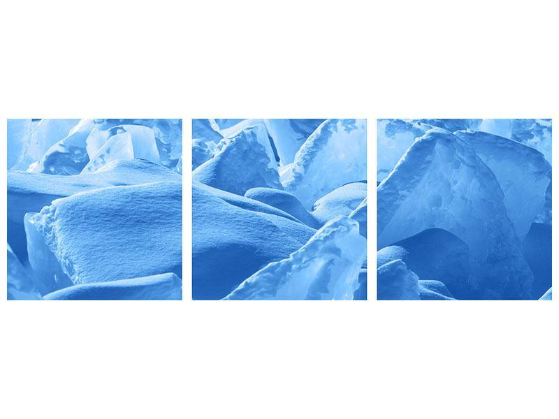 Panorama Klebeposter 3-teilig Eis des Baikalsees