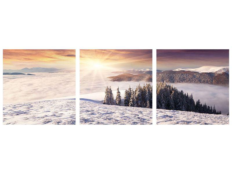Panorama Klebeposter 3-teilig Sonnenaufgang Winterlandschaft