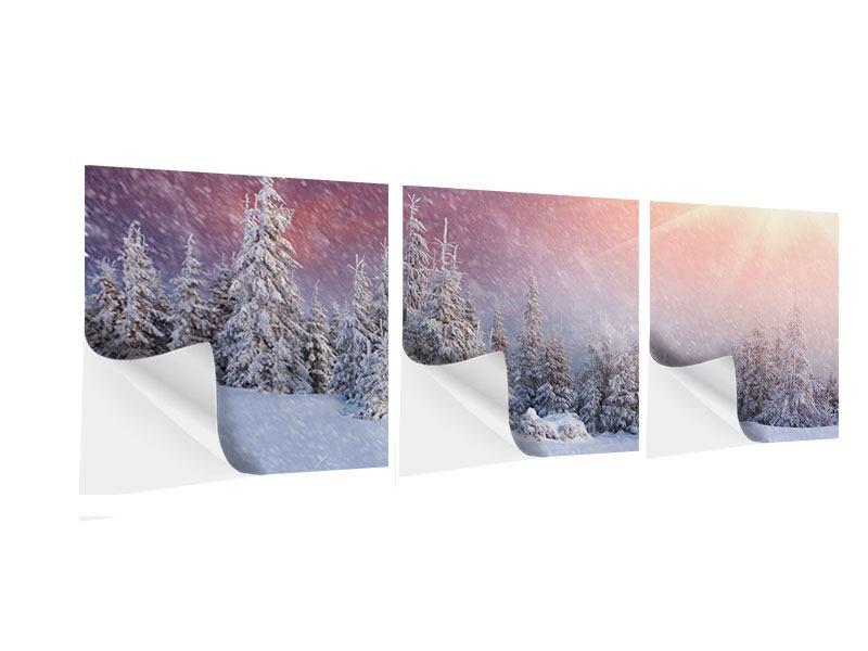 Panorama Klebeposter 3-teilig Mystischer Schneesturm