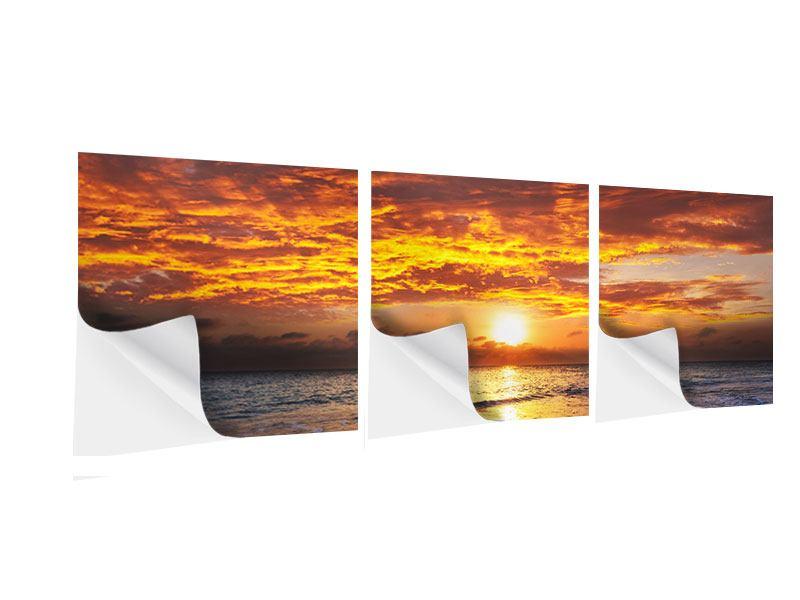 Panorama Klebeposter 3-teilig Entspannung am Meer