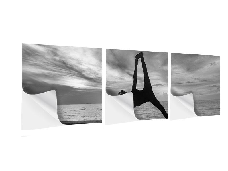 Panorama Klebeposter 3-teilig Yoga am Strand