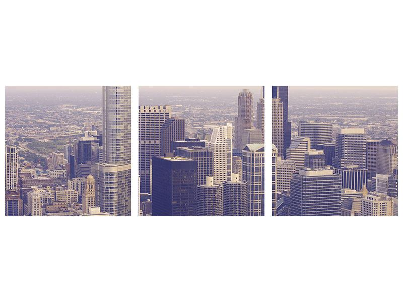 Panorama Klebeposter 3-teilig Skyline Chicago in Sepia