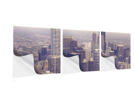 Panorama Klebeposter 3-teilig Skyline Chicago in Sepia