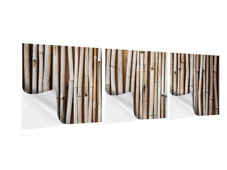 Panorama Klebeposter 3-teilig Getrocknete Bambusrohre
