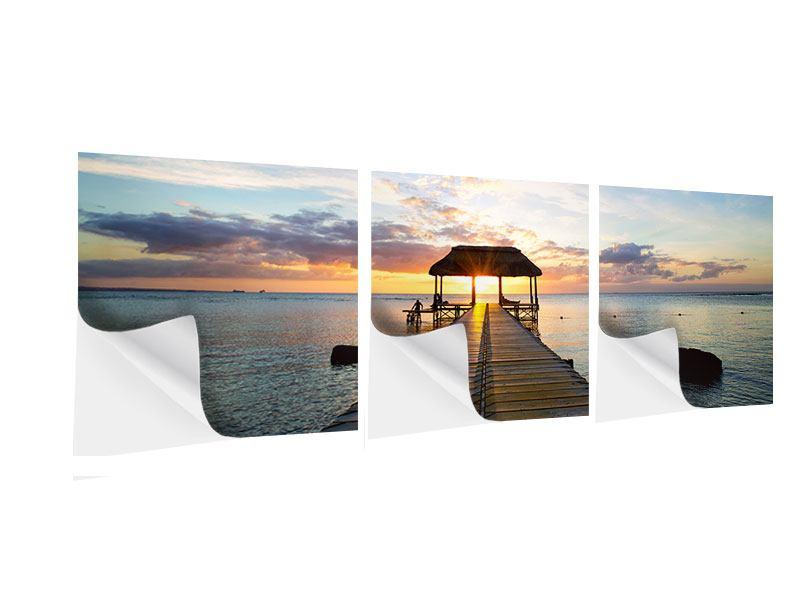 Panorama Klebeposter 3-teilig Romantik auf Mauritius