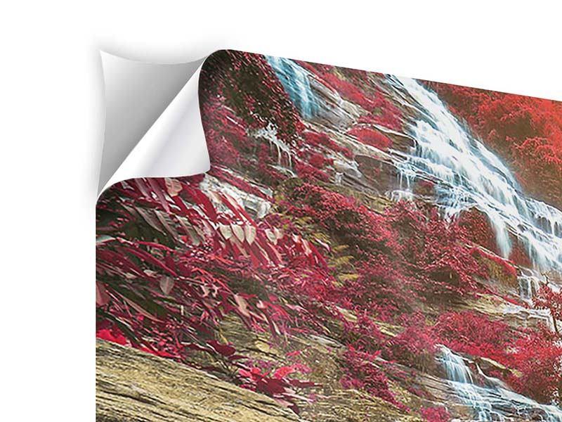Panorama Klebeposter 3-teilig Exotischer Wasserfall