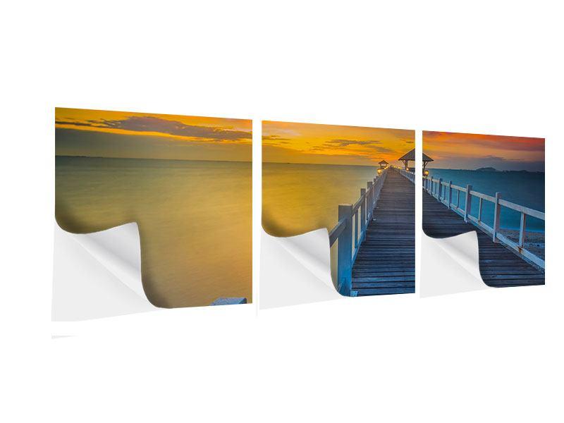 Panorama Klebeposter 3-teilig Eine Holzbrücke im fernen Osten